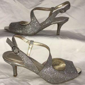 Metallic Strappy Low Heels